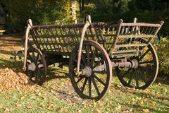 Wooden hay cart. Very old wooden hay cart with support brackets for the wheels Royalty Free Stock Image