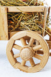 Wooden hay cart on a white background Stock Image