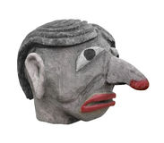 Wooden Head Of A Troll Isolated. Royalty Free Stock Photos