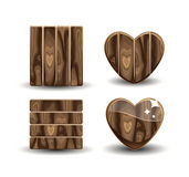 Wooden heart. Vector set of wooden details Royalty Free Stock Images