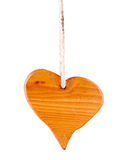 Wooden heart. Shape heart made of wood on a rope, isolated Stock Photography