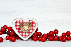 Wooden heart as a Christmas ornament Royalty Free Stock Photo