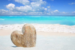 Wooden Heart on the Beach Royalty Free Stock Photo