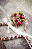 Wooden Heart. With bridal flowers Stock Photo