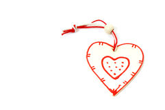 Wooden heart on Christmas tree Stock Image