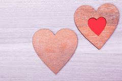 Wooden heart decoratiion Stock Images