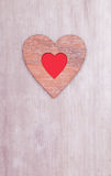Wooden heart decoratiion for mothers day Stock Photo