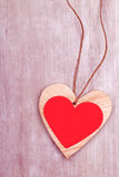Wooden heart decoration for valentines day Royalty Free Stock Images