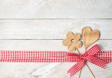 Wooden heart and flower border Royalty Free Stock Photography