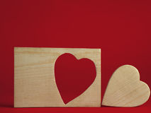 Wooden heart frame royalty free stock photo
