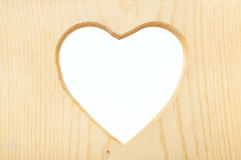 Wooden Heart Frame with Clipping Path Royalty Free Stock Image