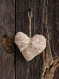 Wooden heart hanging on a branch Stock Photos