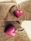 Wooden heart on jute Royalty Free Stock Images