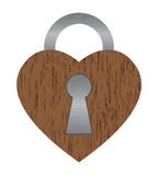 Wooden heart lock Stock Photos