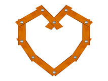 Wooden heart. Heart made of wooden planks fixed with nails. Build your love. Wood wedding symbol Royalty Free Stock Photos