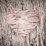 Wooden heart on the old wood background Royalty Free Stock Images