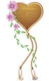 Wooden heart pendant. For various design artwork royalty free illustration