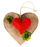 Wooden heart and red heart Stock Photos