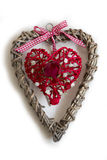 Wooden Heart with Red Heart and Rose Royalty Free Stock Photos