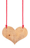 Wooden heart  on a ropes Stock Image