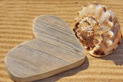 Wooden Heart and Sea Shell Stock Photos