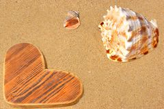 Wooden Heart and Sea Shells Royalty Free Stock Image
