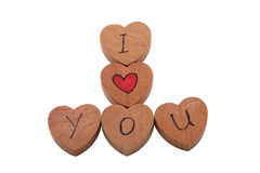 Wooden heart shape blocks with I love you text Stock Image