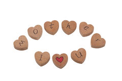 Wooden heart shape blocks with I love you text Stock Images