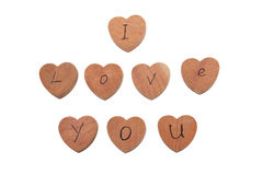 Wooden heart shape blocks with I love you text Royalty Free Stock Photo