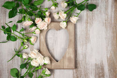 Wooden heart shape frame Royalty Free Stock Photography