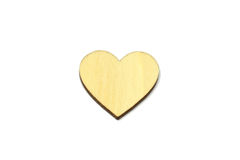 Wooden heart shape isolated on white background. Love symbol simple royalty free stock images