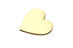 Wooden heart shape isolated on white background. Love symbol simple royalty free stock photos