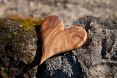 Wooden heart shape in the nature for greeting card. Stock Images