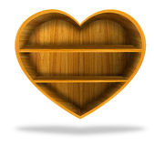 Wooden heart  shelf Royalty Free Stock Photo