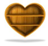 Wooden heart  shelf Royalty Free Stock Photo