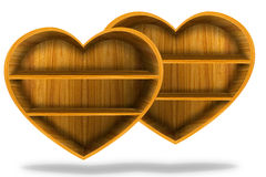 Wooden heart  shelf Royalty Free Stock Photography