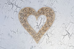 Wooden heart. Sign valentines day on painted cracked texture backgrounds Royalty Free Stock Photos