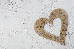 Wooden heart. Sign valentines day on painted cracked texture backgrounds, copy space Royalty Free Stock Image