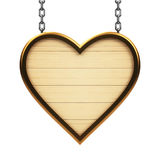 Wooden heart signboard on chain. Isolated on white background, three-dimensional rendering, 3D illustration Stock Photography