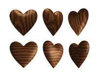 Wooden heart solid wood isolated Stock Image