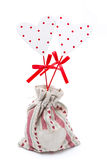Wooden heart on a stick in the sack,  Royalty Free Stock Images