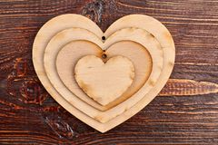 Wooden heart tags, top view. stock photos