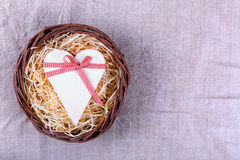 Wooden heart tied with ribbon Stock Photo