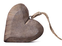 Wooden heart on a white background with cord Royalty Free Stock Images