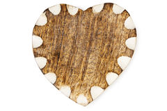 Wooden Heart with White Edge On Hessian Stock Images