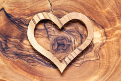 Wooden heart on wooden background, horicontal Royalty Free Stock Images