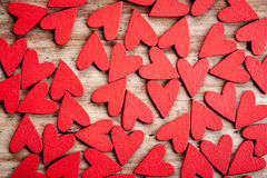 Wooden hearts background Royalty Free Stock Photography