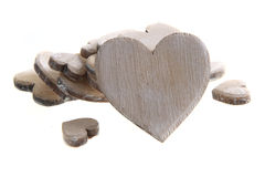 Wooden hearts isolated Royalty Free Stock Images
