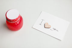 Wooden hearts, jam. Text i love you Royalty Free Stock Images