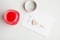 Wooden hearts, jam. Text i love you Stock Photo